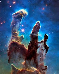 Space And Astronomy Eagle Nebula (aka Pillars of Creation) Poster - Poster. Additional sizes are available. A digitally-enhanced version of an HST photo of the Eagle Nebula. Eagle Nebula, Orion Nebula, Andromeda Galaxy, Helix Nebula, Carina Nebula, Hubble Pictures, Hubble Images, Telescope Pictures, Nebula Wallpaper