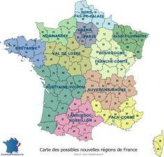 Carte des 11 possibles nouvelles régions françaises en 2017