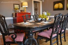 Fall Tour Dining View: dining room table And chairs painted with Rustoleum spray paint