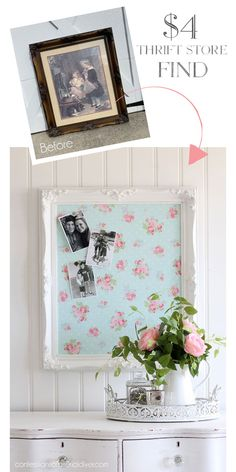 4 Thrift Store Frame Repurposed upcycledcrafts up … - diy projects Upcycled Crafts, Upcycled Home Decor, Recycled Decor, Thrift Store Shopping, Thrift Store Crafts, Thrift Store Finds, Thrift Stores, Thrift Store Furniture, Repurposed Furniture