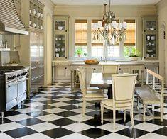Black and white floor- yes!  Designer Kitchens