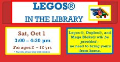 This is a great activity for kids ages 2-11. We have tables set up with Legos. Families build and have a great time together. We have larger legos for the  younger crowd.  Parents are asked to stay with their children. Come anytime between 3:00 and 4:30pm. It's a lot of fun!