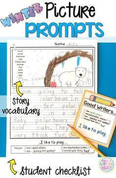 Winter Writing Picture Prompts~ These picture prompts naturally differentiate your writing center. Each page has key vocabulary to support kindergarten, first and second grade writers. These are a perfect addition to your work on writing center!