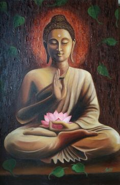 Painting of buddha done on canvas with Oil and Acrylic colours Budha Painting, Black Art Painting, Ganesha Painting, Painting Canvas, Religious Paintings, Indian Art Paintings, Modern Art Paintings, Buddhist Art, Buddhist Quotes