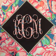 My Lilly Pulitzer matching graduation cap and dress #LillyPulitzer #pearls #monogram #Southern #preppy