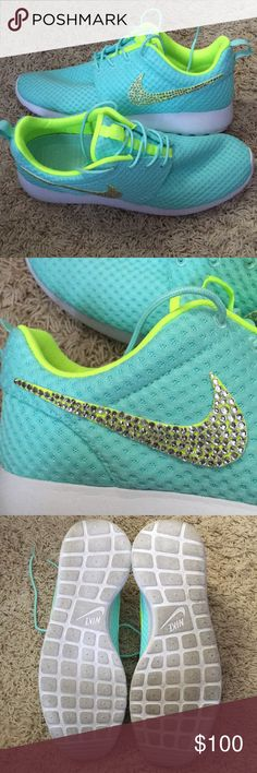 Nike Glitter Kicks!! 💎💎 Light blue with lime green Nike swish Glitter Kicks! Authentic Nike shoes. Bought from the Glitter Kicks website. Swarovski crystals encrusted on then swish on outside side of the shoe. Awesome shoes! For the girl who loves her bling! 💎💎Only worn 2-3 times! In excellent condition!! No scuffs or marks. Only minor marks on the soles of the shoes from being worn a couple times. Paid $150 for them brand new. 💙💙 Nike Shoes Athletic Shoes