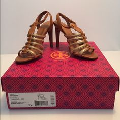 """NIB Tory Burch Sandals Tory Burch Sandal Leather Open toe style Roller ankle buckle Heel height: 3.9"""".                                                            Comes with original box and dustbag and a (not from the original sale but authentic) Large Tory Burch shopping bag. Tory Burch Shoes Sandals"""