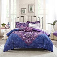Mainstays Teens' Grace Purple Floral Reversible Medallion Bedding Full Comforter Sets for Girls