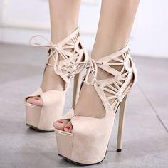 Shoespie Lace Up Cutout Platform Sandals