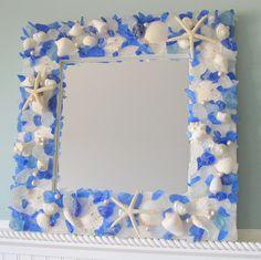 Beach Decor Sea Glass & Seashell Mirror - Nautical Shell Mirrors w Beach Glass, Blue or Any Color. $250.00, via Etsy.
