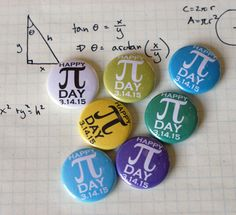 Pi Day 2015 Colorful Nerdy Geeky Math 1 Pinback by robyriker