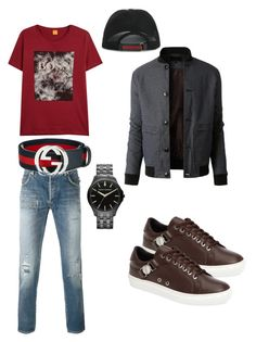 """""""My Babes Style Sexy!"""" by jazzii-tyler-williams-jones on Polyvore featuring BOSS Hugo Boss, Balmain, Versace, LE3NO, Armani Exchange, Gucci, men's fashion and menswear"""