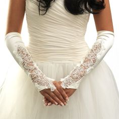 USABRIDE SHEER FLORAL BEADED LACE ABOVE ELBOW IVORY SATIN FINGERLESS BRIDAL GLOVES 915S-IV - Click image twice for more info - See a larger selection of Wedding Gloves at http://zweddingsupply.com/product-category/wedding-gloves/ - woman, wedding fashion, wedding style, wedding ideas, bride.