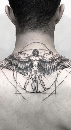 A version of the Vitruvian man . - A version of the Vitruvian man … – ink – - Back Tattoos, Body Art Tattoos, Tribal Tattoos, Sleeve Tattoos, Tattoos For Guys, Cool Tattoos, Back Neck Tattoo Men, Tattoo For Man, Leg Tattoo Men