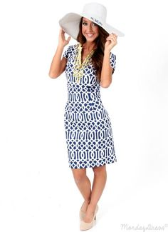 Wave After Wave Navy And White Dress | Monday Dress Boutique