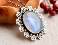 ON SALE - - - Rainbow Moonstone Necklace, Botanical Jewelry, Moonstone Jewelry, Statement Necklace, One of a Kind Metalwork Moonstone Necklace, Moon Necklace, Jewelry Art, Fashion Jewelry, Jewelry Ideas, Silver Pendants, Rainbow Moonstone, Handmade Necklaces, Artisan Jewelry