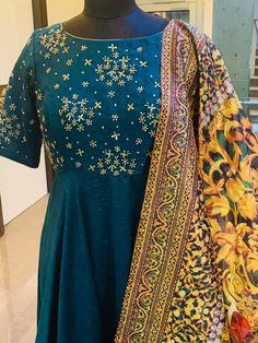 Beautiful powder blue color floor length dress with small flower design hand embroidery work on yoke. Floor length dress with floral print dupatta.Price: 8500 INR (without duppatta order whatsapp 05 April 2019 Small Flower Design, Small Flowers, Flower Designs, Hand Embroidery, Embroidery Designs, Powder Blue Color, Aari Work Blouse, Floor Length Dresses, Indian Dresses