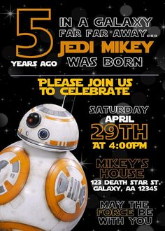 Star Wars Birthday Party Invitation BB-8 Printable Digital Download by The White Wood Company