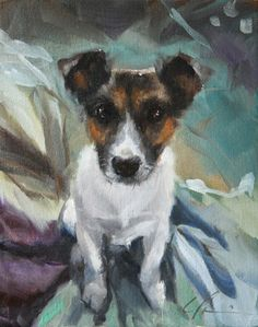 Alert, Cute Jack Russell Terrier on Aqua and Chocolate Brown Background- Original Painting by Clair Hartmann