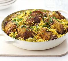 Chicken & couscous one-pot, cooked in a Le Creuset Cast Iron Shallow Casserole