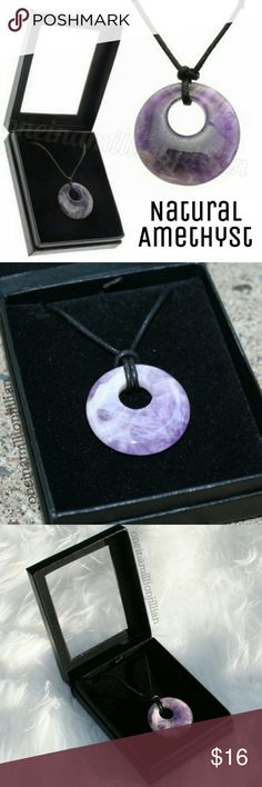 Real Natural Amethyst Pendant Necklace New - Never Worn  Amethyst is a powerful healing stone with a soothing energy. It is said to relieve stress, ease pain & give you a moment of inner calm.  The gorgeous purple color makes it a great addition to any outfit. It has a soft yet vibrant color that looks wonderful against your skin.  ☆ OSFM - Adjustable Comes on a black cord w/ a sliding knot to adjust the length  ☆ Comes boxed & ready to gift or for safe storage when not being worn  ☆ Pendant…