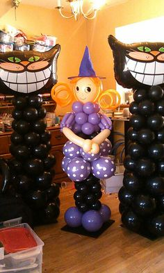 Witch and Black Cat balloons