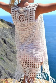 Fabulous Crochet a Little Black Crochet Dress Ideas. Georgeous Crochet a Little Black Crochet Dress Ideas. Gilet Crochet, Crochet Motifs, Crochet Cardigan Pattern, Crochet Jacket, Crochet Blouse, Crochet Bikini, Crochet Patterns, Crochet Vests, Crochet Cover Up