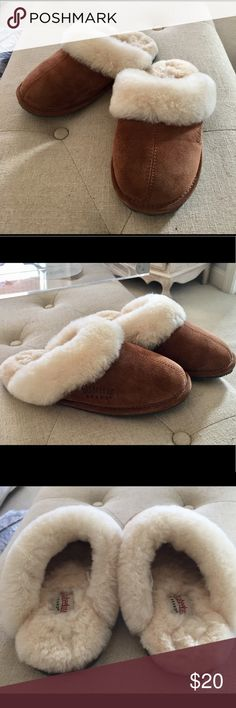 Shearling suede slippers Staheekum suede slippers. Better than Uggs. These are thick genuine shearling slippers with suede uppers. Size 5 Womens which fits girls size 5. Better to buy big. Cinnamon color Stanheekum Shoes Slippers