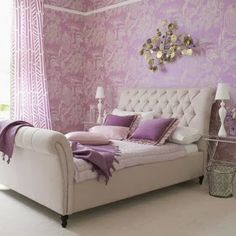 interiores em papelar con morado purple bedroom