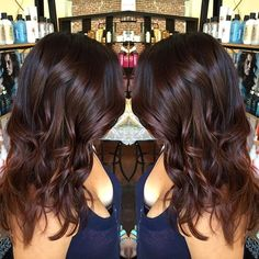 medium+wavy+chocolate+brown+hairstyle (Warm dark brown auburn ombre))