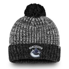 c0b76cc13ac Men s Vancouver Canucks Fanatics Branded Black Gray Iconic - Cuffed Knit  Hat with Pom