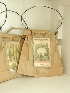 Brown Paper Bags...with seed packets & wire.
