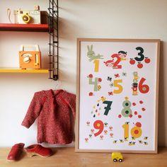 BORA illustraties BORA Poster (50 x 70 cm) 123 tellen - Lekker Retro