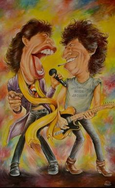 "Mick Jagger & Keith Richards of ""The Rolling Stones"" Funny Caricatures, Celebrity Caricatures, Mick Jagger, Heavy Metal, Waiting On A Friend, Keith Richards Guitars, Cool Pictures, Funny Pictures, Charlie Watts"
