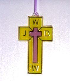 ORNAMENT  Cross WWJD  Acrylic  Yellow & by CreativeXpression1, $3.50