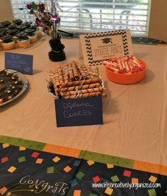 10 easy graduation party food ideas! Diplomas made from Pirouette cookies tied…