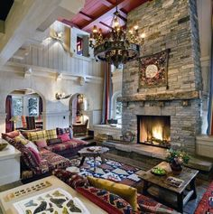 Top 70 Best Stone Fireplace Design Ideas - Rustic Rock Interiors Eclectic Living Room, Living Room Interior, Living Room Designs, Living Room Decor, Living Rooms, Chalet Interior, Gray Interior, Family Rooms, Living Area