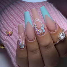 Matte Pink Nails, Bling Acrylic Nails, Summer Acrylic Nails, Best Acrylic Nails, Bling Nails, Swag Nails, Glamour Nails, Fire Nails, Luxury Nails