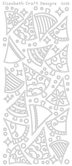 Elizabeth Craft Designs Peel-off Stickers Christmas Trees-Nice patterns to decorate cookies with royal icing