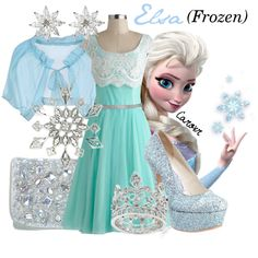 """Elsa (Frozen)"" by carovr on Polyvore leave off the high heels and this would be great for a little girl."