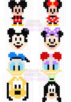 Mickey Mouse and Friends Perler Bead Pattern