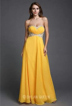 Sweetheart beaded strapless yellow