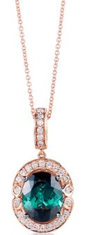 Levian-web-Apr.2013,rose gold pendant  set forest green diamonds and white diamonds