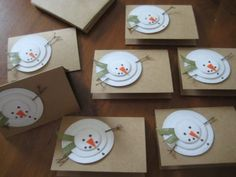 Handmade Christmas Cards, Rustic Snowman, Let it Snow, Set of 8 Handmade Christmas Cards Rustic Snowman by GrammyandMe Homemade Christmas Cards, Noel Christmas, Christmas Gift Tags, Homemade Cards, Handmade Christmas, Snowman Cards, Diy Snowman, Snowmen, Painted Snowman
