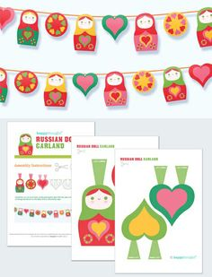 Russian doll garland DIY printable by Happythought http://printablepaperproducts.com/printable-crafts/russian-doll-garland