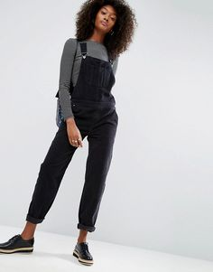 ASOS | ASOS Cord Patch Pocket Overall in Washed Black