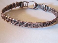 Antiqued Copper Wire Weave Bracelet by MaxxBelleCreations on Etsy