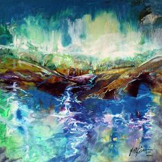 Abstract Landscape Paintings On Canvas | ABSTRACT LANDSCAPE RIVER RUN II