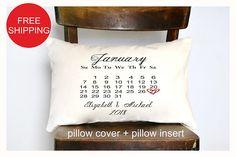 Calendar pillowPersonalized Wedding Pillow 2nd anniversary