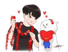 JIN @BTS art #BT21 awwh this is so cute i cant xD i love taetaes face